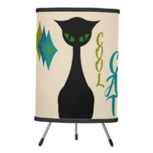 Cool Cat Mid Century Modern Retro Version 2 Tripod Lamp by kischtorium